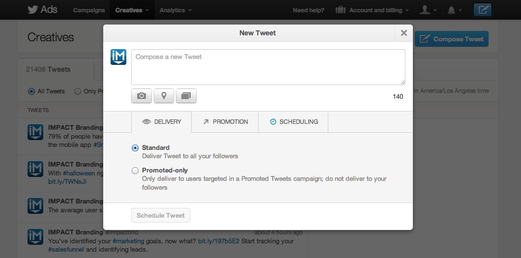 Twitter scheduling tweets