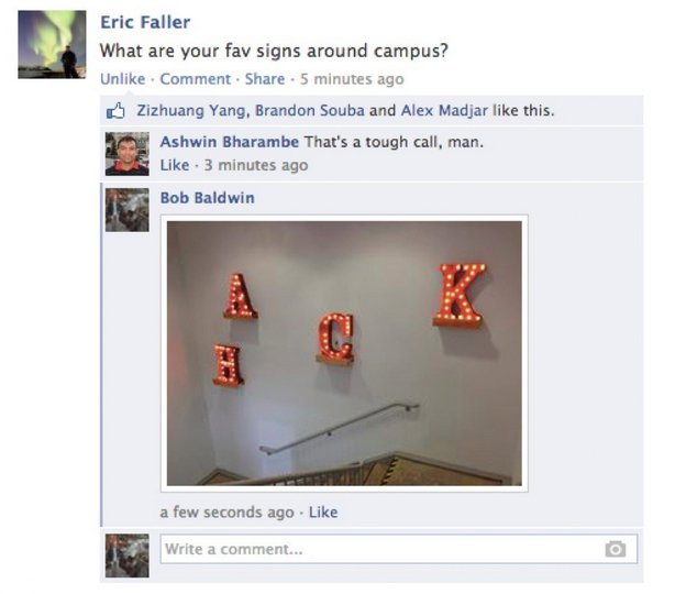 Facebook photo comments