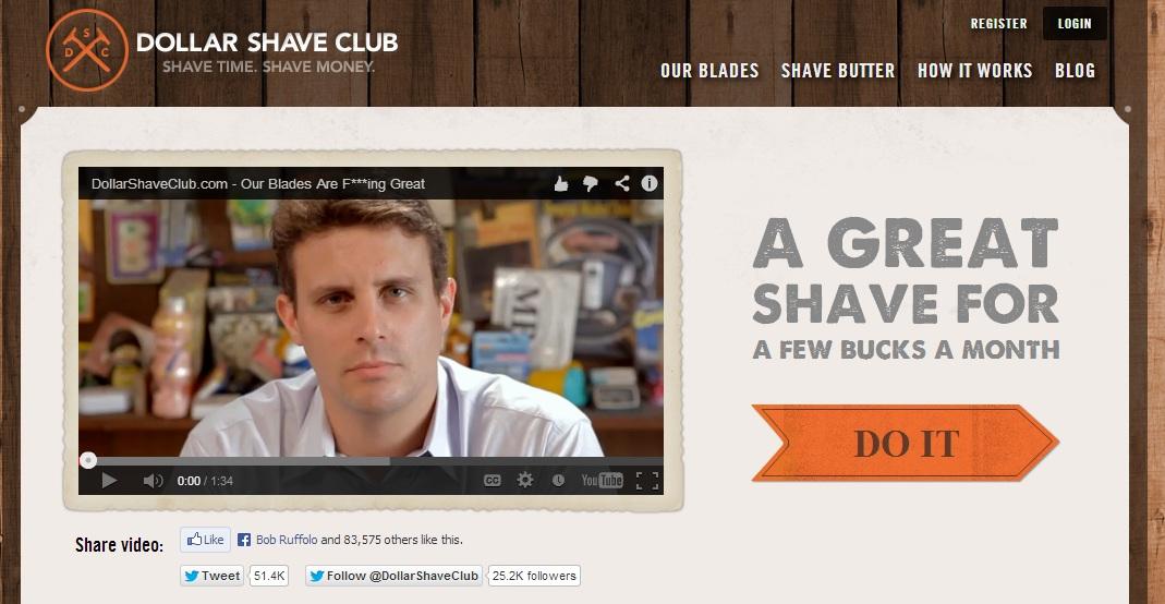 Dollar Shave Club Text CTA