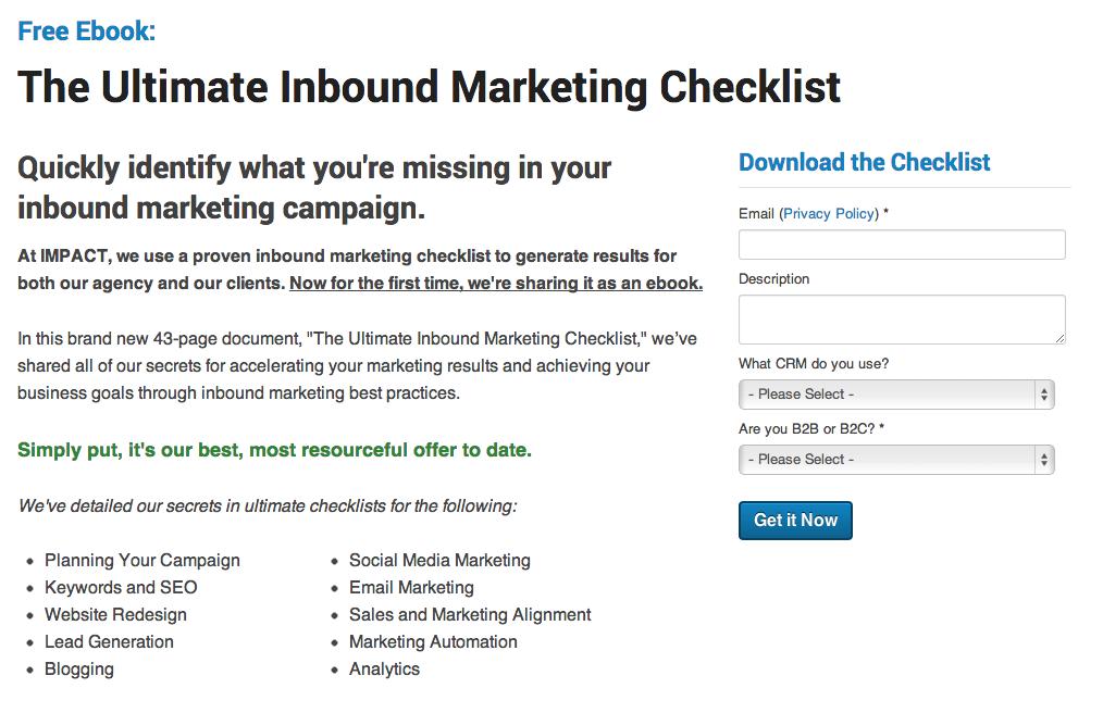 ultimate inbound marketing checklist - landing page