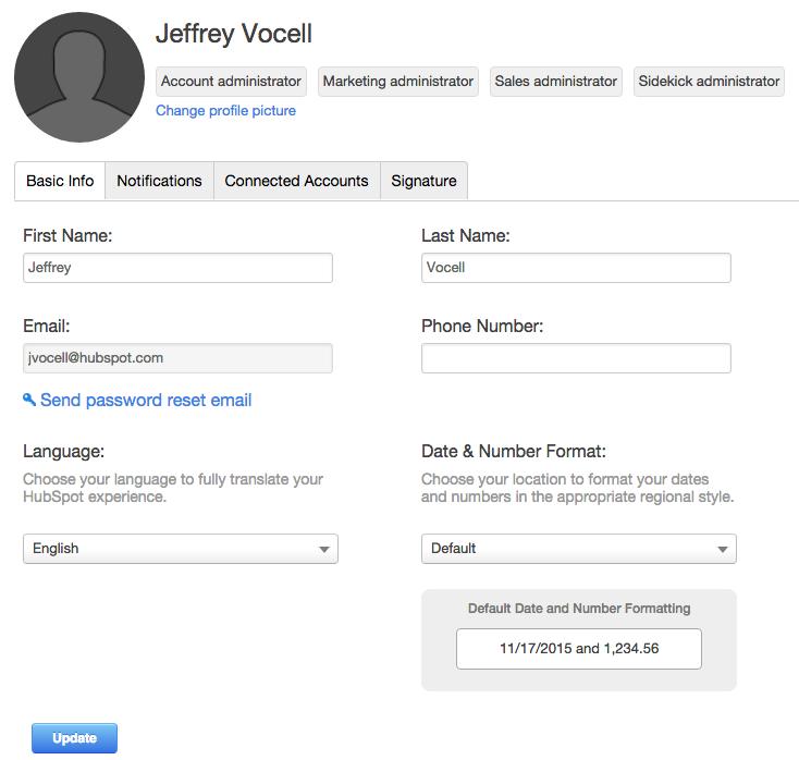 HubSpot-Profile-and-Language-Setting