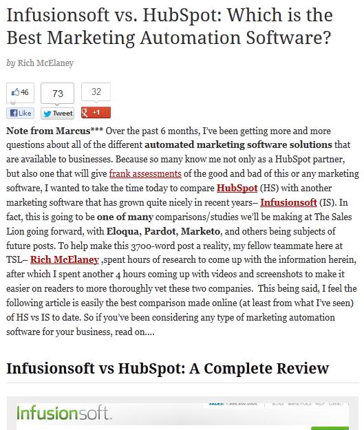Infuionsoft vs HubSpot article