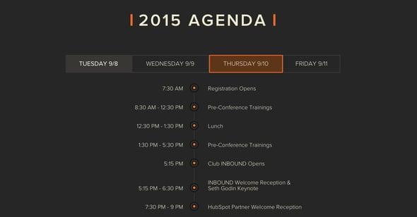 Inbound 2015 Agenda