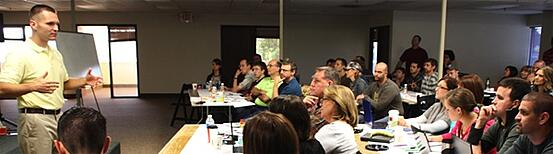 """A photo taken at the first true """"content marketing workshop"""" I ever gave to the great folks of Block Imaging."""