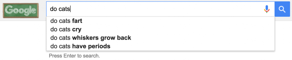 "google autocomplete for ""do cats"""