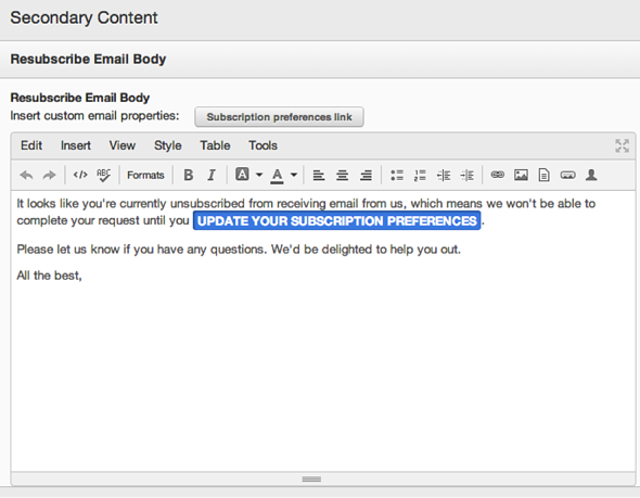 HubSpot COS Email Resubscribe Form