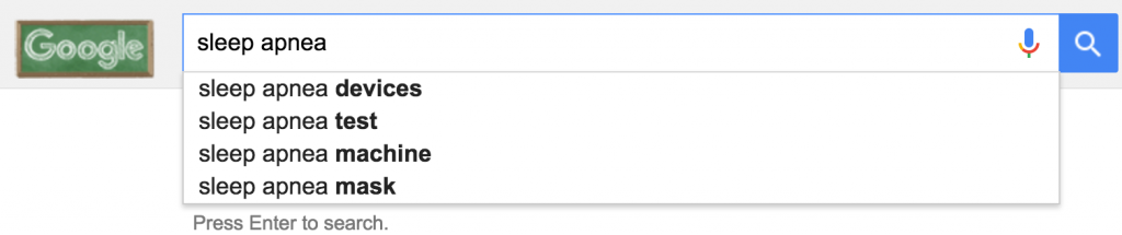 "google autocomplete for ""sleep apnea"""