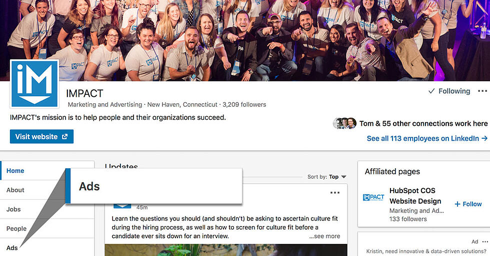 LinkedIn's New Ads Tab Will Show Users a Company's Sponsored Content