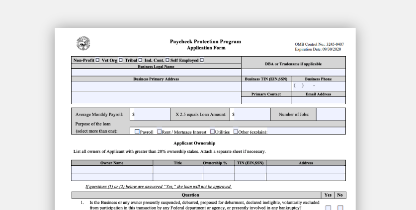 Paycheck Protection Program application and required documents (CARES Act)