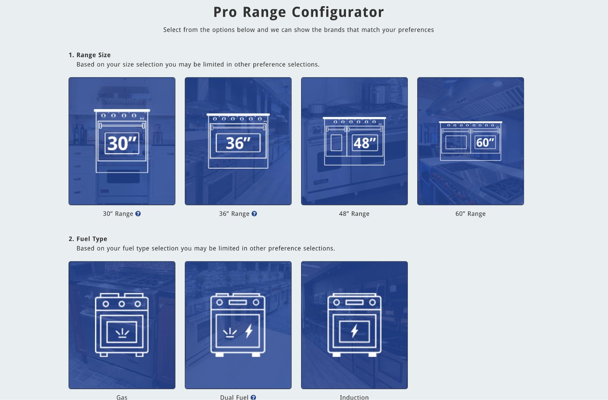 pro range configuator